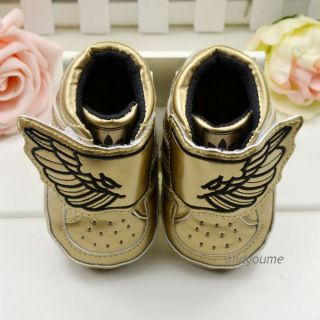 Baby Boy Infant Toddler Gold Wing Soft Sole Sneakers Crib Shoes Age 3 18 Months