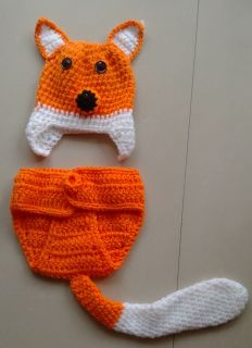 Cute Baby Toddler Infant Fox Knitted Costume Set Photo Photography Prop L80