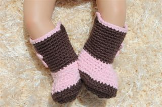 New Handmade Knit Crochet Brown Pink Cowboy Baby Boots Shoes Newborn Photo Prop