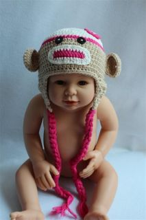 New Handmade Baby Child Crochet Sock Monkey Hat Photograph Hot Pink Flower Gift