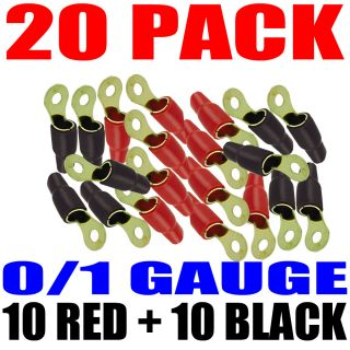 20 Pack 1 0 Gauge Wire Cable Ring Terminals Connectors Red and Black Boots 5 16""