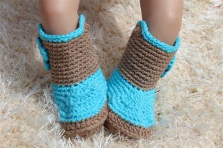 New Handmade Knit Crochet Grey Blue Cowboy Baby Boots Shoes Newborn Photo Prop