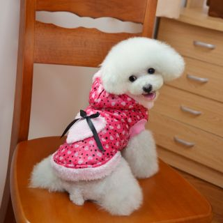 Pet Dog Warm Heart Dot Waistcoat Hoodies Puppy Clothes Apparel Winter Sweater