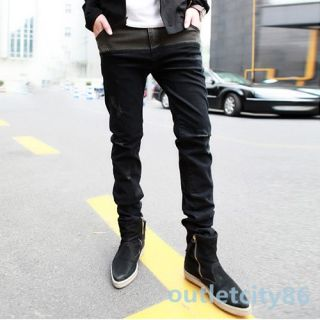 Boys Luxury Split Joint Jeans Trousers Mens Montage Skinny Pencil Long Pants Hot