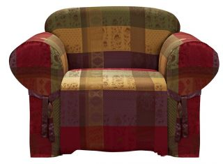 Gitano Burgundy Purple Green Heavy Duty Jacquard Arm Chair Cover Slipcover