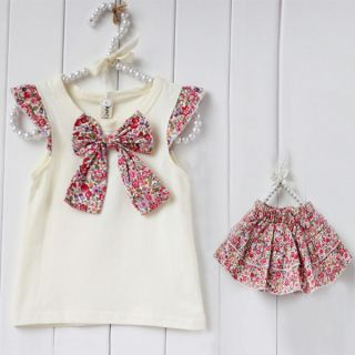 Baby Flowers Bow Knot Tops Ruffle Outfits Kids Girls Culottes 2pcs Set Size 0 3Y