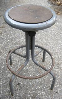 Antique Industrial Steampunk Art Swivel Stool Chair Garden Glass Top Table Stand
