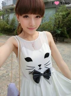 New Womens Korean Fashion Cat Bow Cute White Sleeveless Crewneck Dress B2277