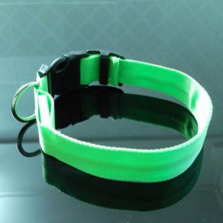 Best Brand New Nylon Dog Collar LED Flashing Pet Dog Collar Green Size M