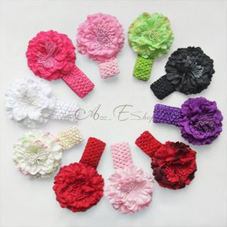 10pcs Peony Flower Headband Kid Baby Girl Hair Band Bow Accessory Clip Headwear