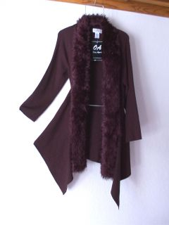 New Long Chocolate Brown Faux Fur Sweater Coat Cardigan Duster Top 12 14 L Large