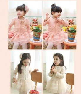 Pretty Toddler Girls 2pcs Puff Sleeve Cardigan Tutu Tulle Skirt Kids Sets Suits