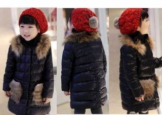 Casual Girls Toddlers Removable Faux Fur Winter Warm Coat Baby Jacket Snowsuits