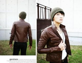 Men Slim Fit Sexy Style PU Leather Jacket Coat 2 Colors H023