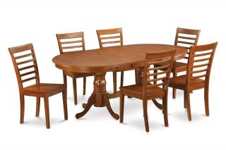 7pc Square Dinette Kitchen Dining Table Set 6 Wood Chairs in Brown Finish