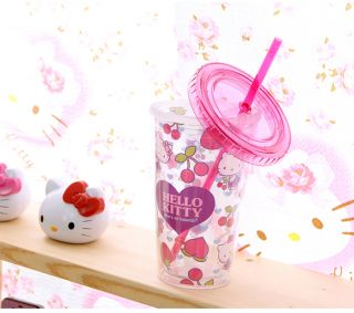 Hello Kitty Ice Tumbler Cold Cup with Twist on Lid Straw 473ml 16 7oz Strawberry