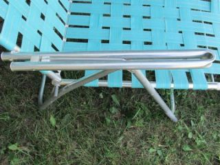 New 1960s Aluminum Folding Webbed Lawn Chair Chaise Lounge Turquoise Gold Msee
