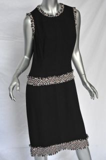 Chanel Black Woven Silk Knit Tweed Fringed Trim Sleeveless Drop Waist Dress L 44