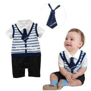 1pc Baby Boy Kid Top Pants Romper Jumpsuit Tie Outfit Clothes Bodysuits Stripe