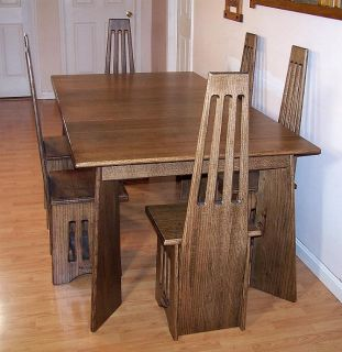 Extension Table Dining Room Set Arts Crafts Mission Quarter Sawn Oak Made in USA