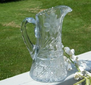 Vintage Crystal Cut Glass Flowers Sunflower Cornflower 38 oz Large Water Pitcher