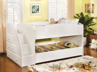 Contemporary Youth Kids Wood White Twin Twin Loft Bunk Bed with Step Drawers