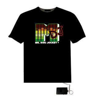 Up and Down Light Sound Activated DJ Shape LED El T Shirt JG2D