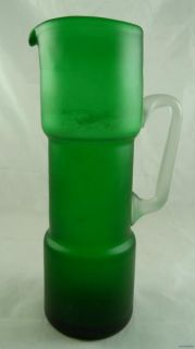 Vintage Emerald Green Frosted Glass Cocktail Pitcher Retro Bar