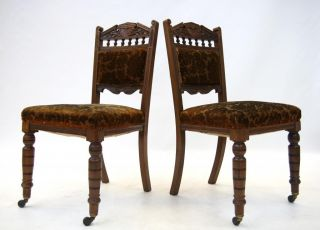 2 x Antique Victorian Chair Dining Solid Walnut Pair Parlour Chairs