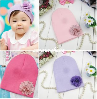 1pc Soft Infant Baby Girl Toddler Newborn Flower Cap Beanie Hat Accessory