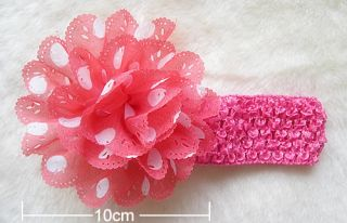 10pcs Polka Dot Chiffon Flower Kid Baby Girl Headband Hairbow Headwear Accessory