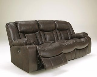 Contemporary Brown Faux Leather Reclining Sofa and Double Reclining Loveseat Set