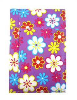 Purple Floral Flower Passport Cover Travel Document Holder Organizer