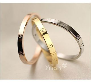 Men Women Stainless Steel Silver Rose Gold Screw Heads Cuff Bangle Bracelet