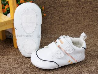 New Toddler Baby Boy White Snaker Wallking Shoes Size 3 6 9 Months A834