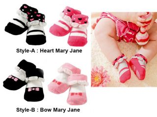 2 PR New Toddler Baby Girl Mary Jane Shoes Socks 0 24M