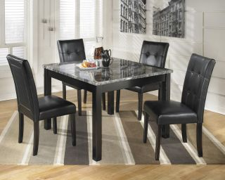 Black Contemporary Square Dinette Table Chairs Set 5pcs Dinining Room Modern