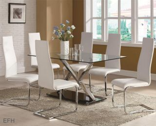 New 5pc Sanya Modern Glass Chrome Metal Dining Table Set Black or White Chairs