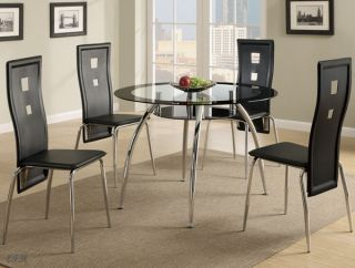 New 5pc Tulsa Contemporary Round Black Glass Chrome Metal Dining Table Set