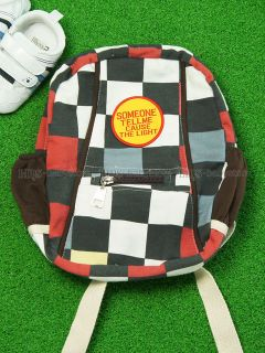 New Toddler Kids Children Boy Cotton Soft Bag Backpack Checker