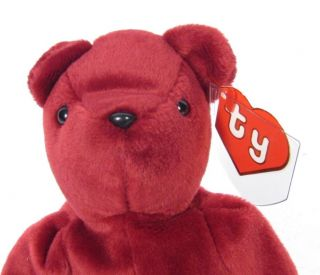 Candy Spelling's Beanie Baby Old Face Cranberry Teddy Bear 1993 1st Gen Tush Tag