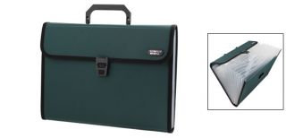 Dark Green 13 Compartments Paper Document File Holder Organizer Bag