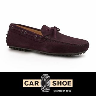 Car Shoe Men's Dark Purple Suede Leather Driving Loafers Mocassins Shoes