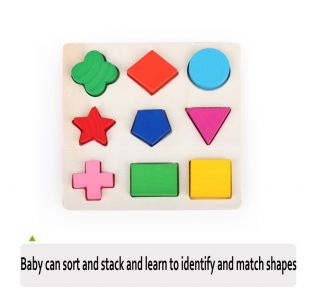 Brilliant Basics Kids Baby's First Wooden Blocks Sorters Developmental Toy Set