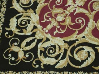 9'x12' Handmade French Aubusson Design Wool Needlepoint Black Area Rug Brand New