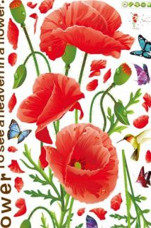 Brand New Corn Poppy Flower Pattern DIY Adhesive Removable Wall Decals