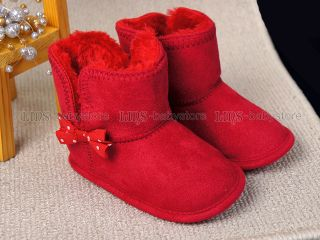 New Toddler Baby Girl Red Bow Boots US Size 4 A890