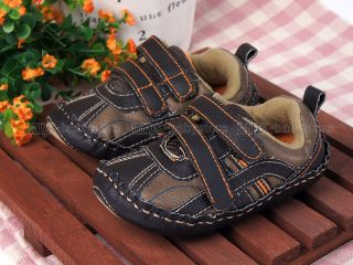 New Toddler Baby Boy Brown Hard Sole Sneakers Walking Shoes US Size 2 3 4 A899