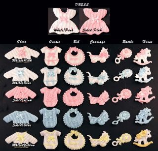 Baby Shower Favor Decoration Table Scatter Cutesie Bib Rattle Horse Dress 12pcs