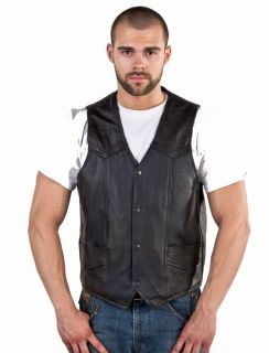 Mens Classic Concealed Weapon Gun Pockets Leather Motorcycle Biker Club Vest